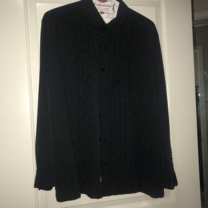 Mat Nast Luxury button down black embroider silk